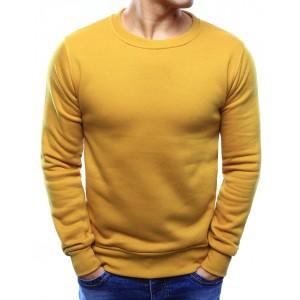 Moderné pánske mikiny v žltej farbe bez kapucne