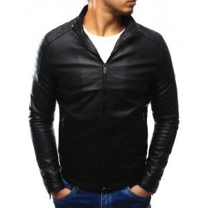 Čierna prechodná pánska kožená bunda na každý deň