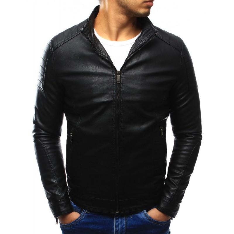 Čierna prechodná pánska kožená bunda na každý deň - fashionday.eu 48e04fec73f