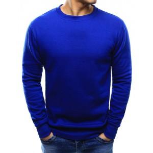 Kráľovsky modrá pánska mikina bez kapucne v jednoduchom štýle