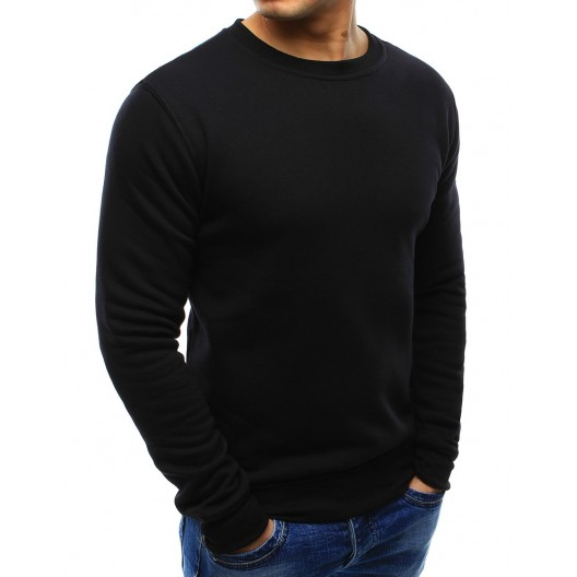 Čierne pánske pohodlné mikiny bez kapucne s krátkym strihom
