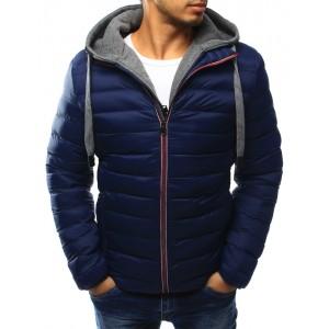 Tmavo modrá pánska prechodná bunda so sivou kapucňou