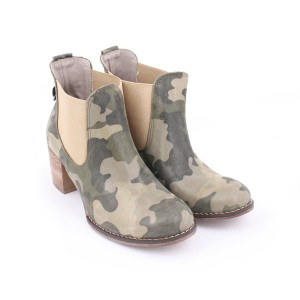 Moderné kožené topánky s maskáčovým vzorom pre dámy na vysokom podpätku
