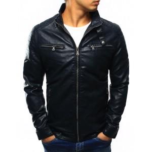 Tmavo modrá pánska prechodná kožená bunda so vzorom na ramenách