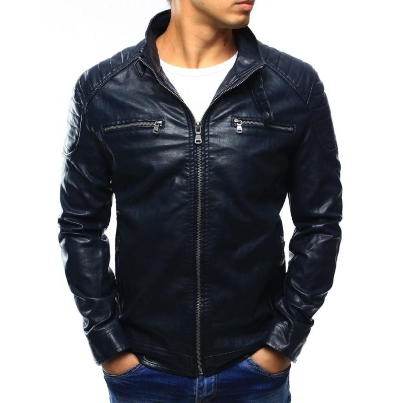 4e3bf245a Moderná tmavo modrá pánska kožená bunda s náprsnými vreckami ...