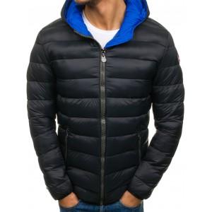Prešívaná pánska zimná bunda s kapucňou čiernej farby