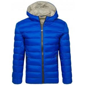 Hrubá pánska prešívaná bunda na zimu v modrej farbe