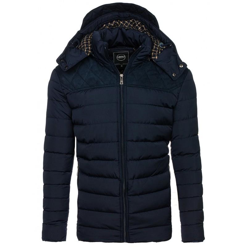 a249275b9 Modrá pánska hrubá bunda s prešívaním a kapucňou na zimu - fashionday.eu