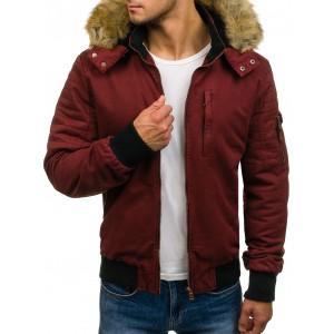 Pánska zimná bordová bunda s kožušinou na kapucni