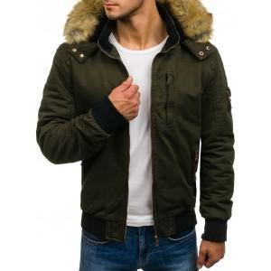 Zelená pánska zimná bunda pre pánov s vreckom na rukáve