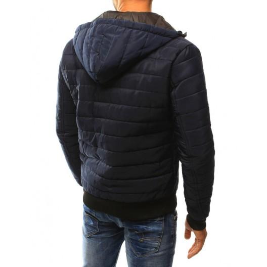 Tmavo modrá pánska prechodná bunda s vreckami a čiernym zipsom