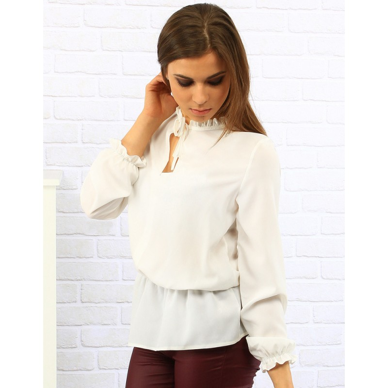 604043150559 Biela elegantná dámska blúzka s viazaním na krku - fashionday.eu