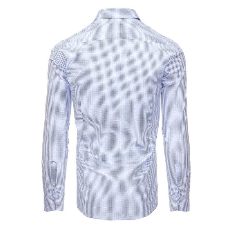 b4ab0486facb Biela elegantná pánska košeľa s bodkovaným vzorom modrej farby ...