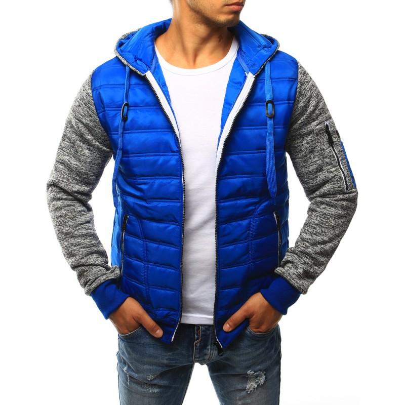 Predchádzajúci. Modrá pánska prechodná bunda s kapucňou a rukávmi sivej ... 3f490a22e28