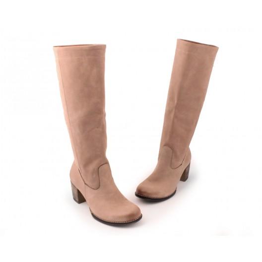 Kožené dámske cappucino čižmy na zimu na vysokom podpätku