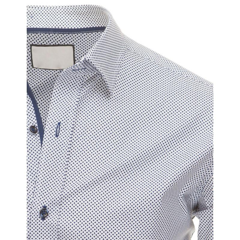 d2707a97fa39 Pánska moderná košeľa bielej farby s bodkovaným vzorom - fashionday.eu