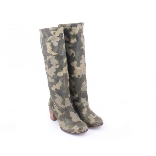 Army prechodné kožené čižmy pre dámy na hrubom podpätku