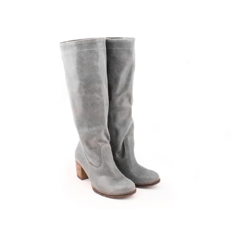 dded1233972d Zimné teplé vysoké kožené čižmy pre dámy sivej farby - fashionday.eu