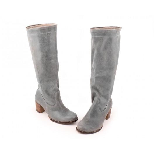 Zimné teplé vysoké kožené čižmy pre dámy sivej farby