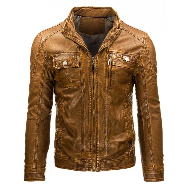 a397ed3b8 Pánska prechodná kožená bunda hnedej farby s náprsnými vreckami ...