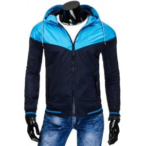 Tmavo modré pánske prechodné bundy so svetlo modrou kapucňou a detailami 24f4708a986