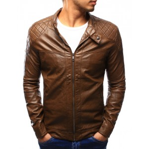 Hnedá pánska kožená bunda na jar so vzorom na ramenách a vreckami