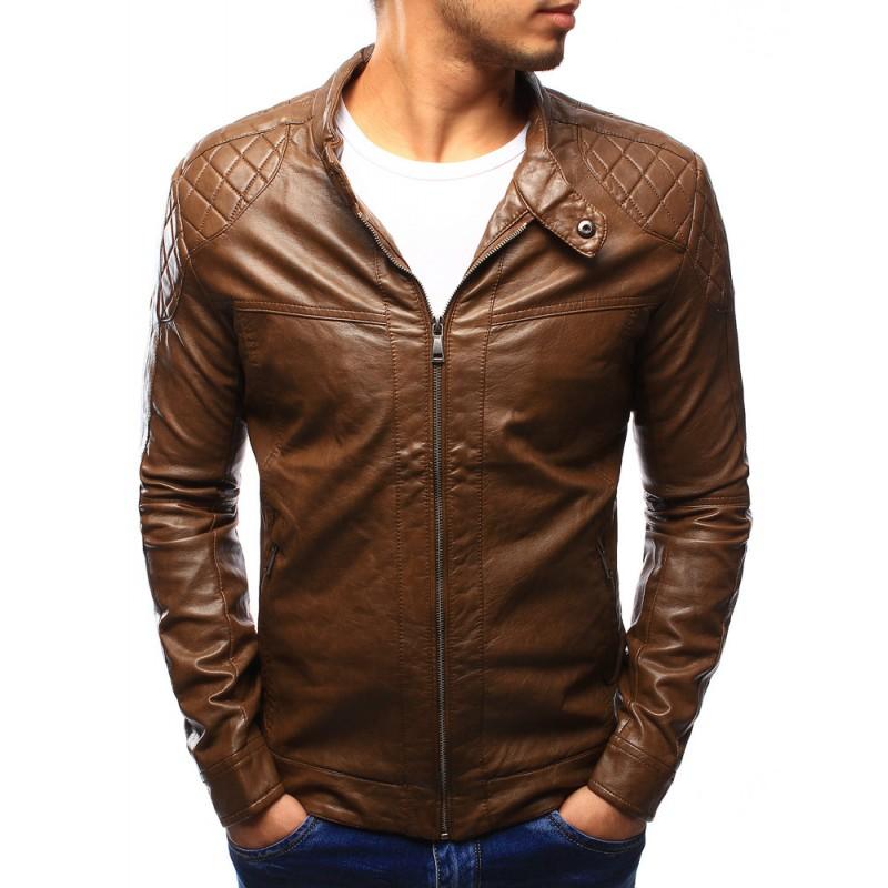 Hnedá pánska kožená bunda na jar so vzorom na ramenách a vreckami ... 2e7d622e0d1