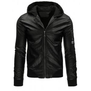 Pánska prechodná kožená bunda s kapucňou v čiernej farbe