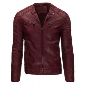 Moderná pánska kožená bunda v bordovej farbe na každý deň
