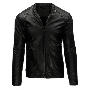 Pohodlná pánska prechodná kožená bunda čiernej farby so zipsami na rukávoch