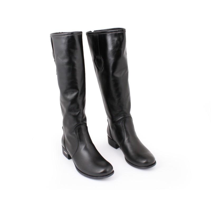 c552a27cc857 Čierne dámske kožené čižmy na podpätku so zlatým zipsom - fashionday.eu