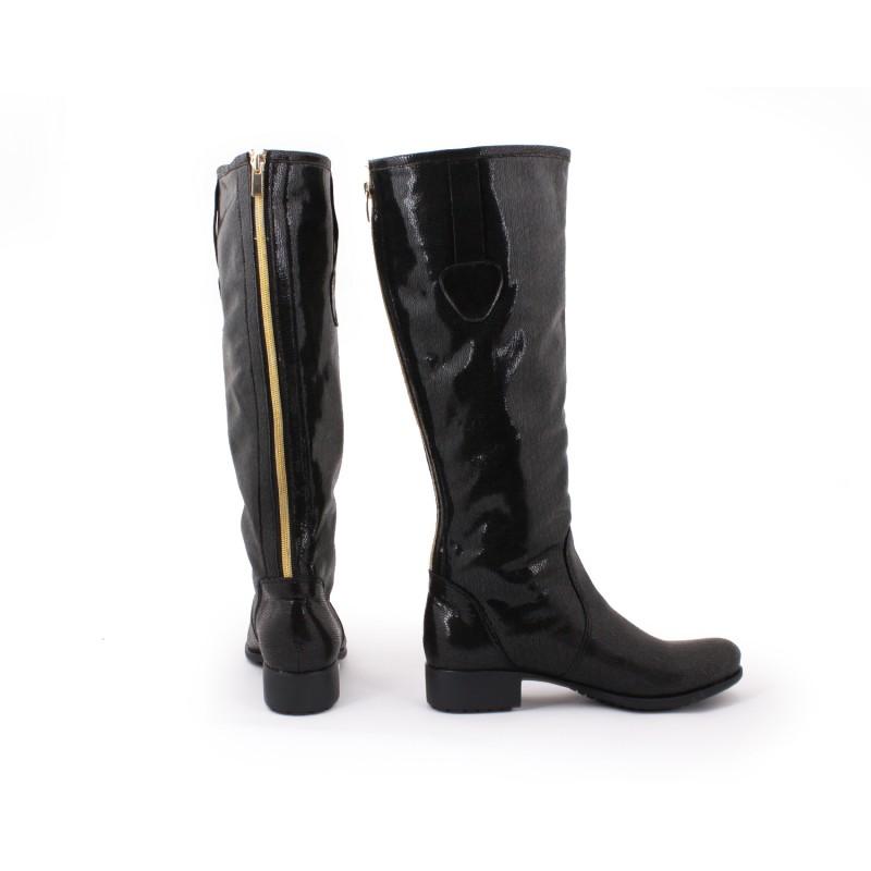 bd925603717a Lesklé čierne kožené dámske prechodné čižmy - fashionday.eu