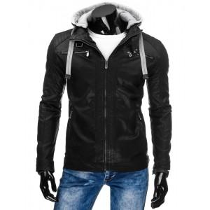 Moderná čierna pánska prechodná koženka so sivou kapucňou a šnúrkami