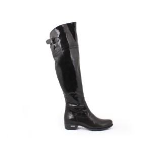 Lesklé čierne vysoké čižmy po kolená pre dámy na každú príležitosť