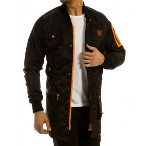 Čierna pánska prechodná bunda dlhého strihu s oranžovými detailami