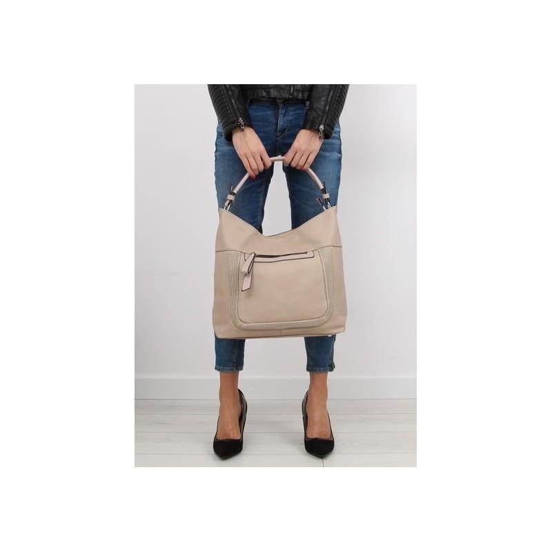 a0eda9737794 Béžová moderná kabelka do ruky so zipsom na prednej strane ...