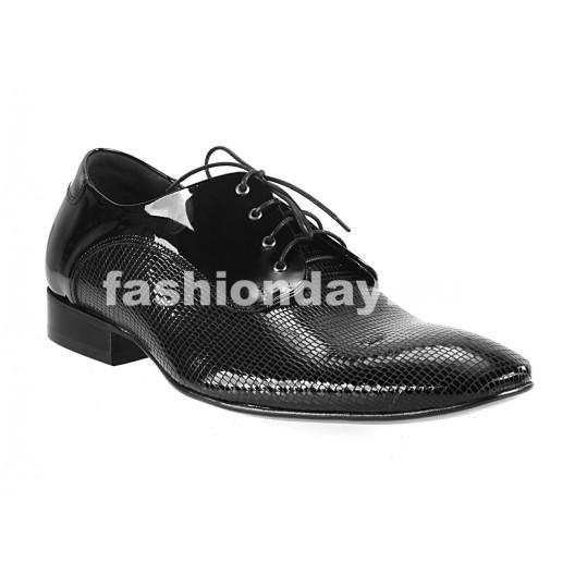 Pánske kožené extravagantné topánky čierne PT049