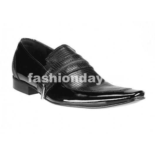 Pánske kožené extravagantné topánky čierne PT061