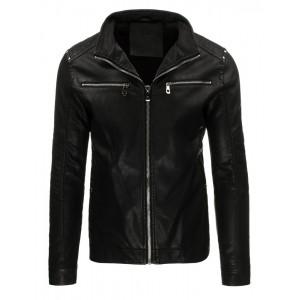 Prechodná pánska kožená bunda v čiernej farbe so striebornými zipsami