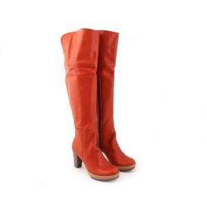 Dámske vysoké kožené čižmy po kolená hnedej farby