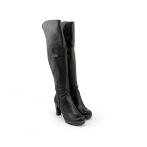 a474515c9e Luxusné kožené dámske vysoké čižmy na vysokom podpätku so zapínaním na zips  čiernej farby