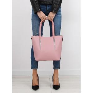 Dámska ružová kabelka do ruky s aplikáciou