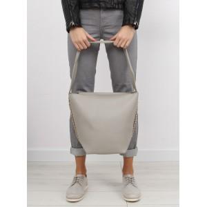 Dámska sivá kabelka do ruky s kozmetickou taškou