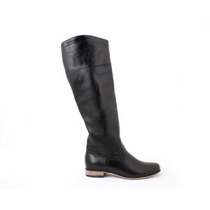 Čierne dámské vysoké kožené čižmy