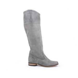 Sivé kožené dámske vysoké čižmy na zimu