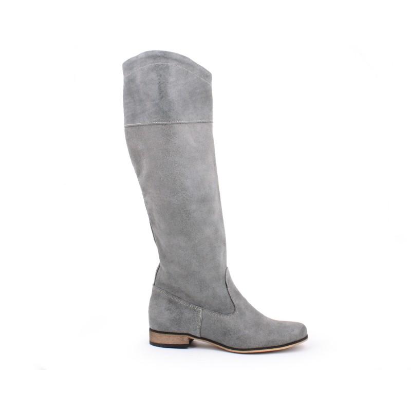 Sivé kožené dámske vysoké čižmy na zimu - fashionday.eu c2e3e06bba1