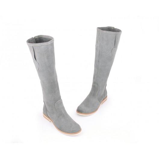 Elegantné sivé kožené čižmy pre dámy so zaoblenou špičkou