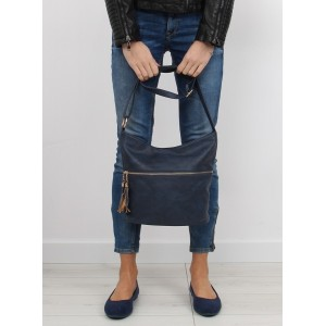 Dámske kabelky na rameno so strapcami v tmavomodrej farbe
