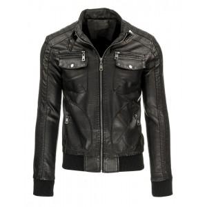 Čierna pánska prechodná kožená bunda s vreckami a zipsami