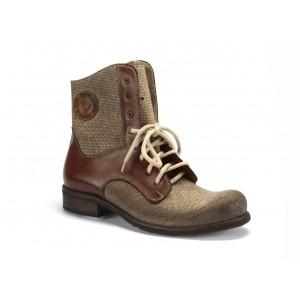 Pánske zimné kotníkové kožené topánky COMODO E SANO v hnedej farbe